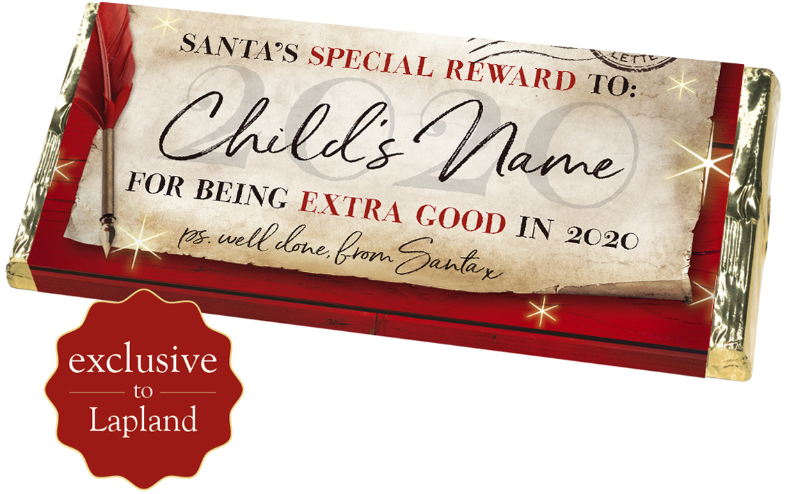 Personalised chocolate bar from Santa