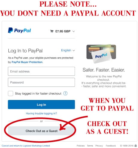 Check out as guest when you pay with PayPal