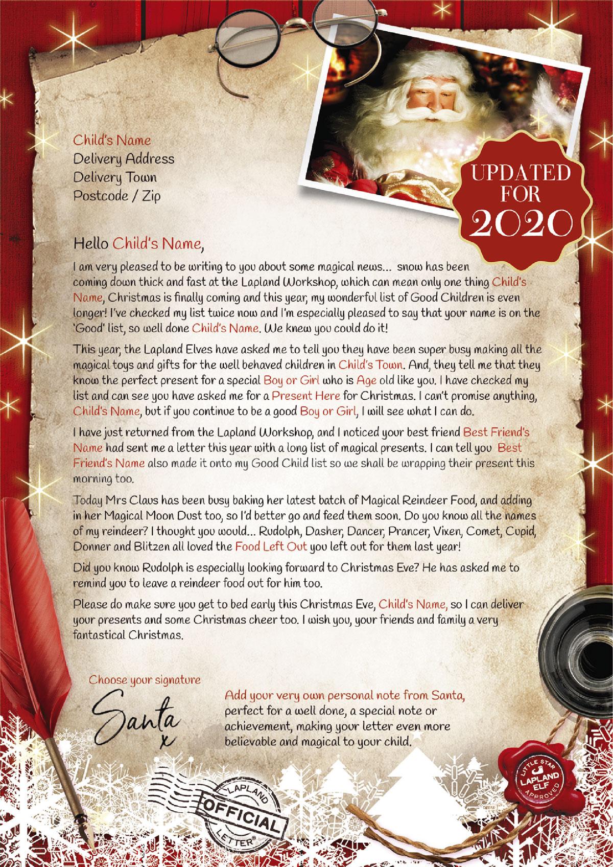 A Letter From Santa Fantastical Santa Letters Uk