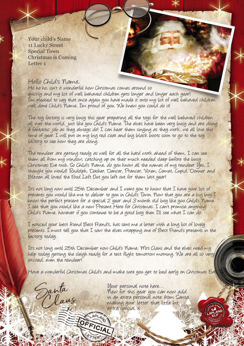 Letter from santa and father christmas letters magical santa letters uk lapland letter 1 small spiritdancerdesigns
